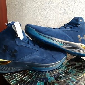 Under armour curry 1 luxe suede blue and gold 16